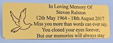 PERSONALISED BENCH MEMORIAL PLAQUE ENGRAVED GRAVE MARKER SIGN BRASS EFFECT