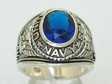 925 Silver September Montana Cz Birthstone Us Military Navy Men's Ring Size 11