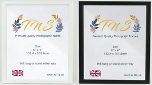 Quality Frame Pack of 2 Photo 6x4 White/Black Picture Frame Made in UK✓ Premium✓