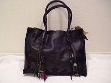 """SIMONE CAMILLE leather Black """"Simone"""" Tote Chain Knit calf hair Bag Purse-NWT"""
