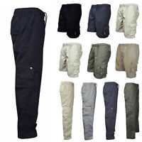 Men's Elastic Waist Cargo Army Style Military Pants Combat Camo Shorts Trousers