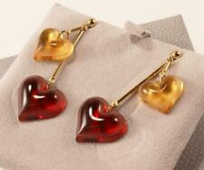 LALIQUE COEUR DOUBLE HEART LOVE AMBER/RED CRYSTAL GOLD PLATED DANGLE EARRINGS