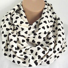 Gorgeous Cream Heart Print Circle Loop Infinity Scarf Snood - New In Latest