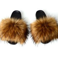 Faux Fur Slides Slippers Beautiful Hot Sale Lady Fully Flip Flops Summer Sandals