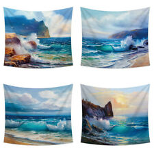 Wave Beach Oil Painting Print Tapestry Wall Hanging Blanket Mat Home Decoration