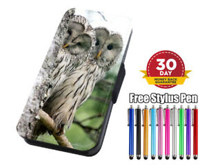 Cute Snowy Owls Nature Flip Phone Case Cover for iPhone Samsung and Huawei