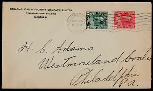 Canada Admiral Era 1915 Business Cover: CANADIAN CAR & FOUNDRY, Montreal - ph141