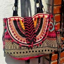 MULTI COLORED VINTAGE FABRIC HAND BAG PURSE W/ SHISA MIRRORS W/ FREE SHIPPING