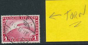 Lot Stamp Germany Mi 455 1931 Zeppelin Tear on top right Used Faults