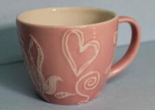 Starbucks 2006 Embossed Valentines Pink Heart Flowers Coffee Tea Mug EUC