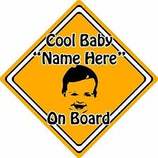 Personalised Cool Baby/Child On Board Car Sign ~ Baby Face Silhouette ~ Orange
