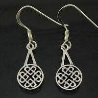 Stylish Pure Sterling Silver 925 Infinity Loop Hearts Celtic Knot Earrings