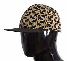 NWT $280 DOLCE & GABBANA Yellow Cat Print Cotton Cap Hat Mens Strap s. 59 / L