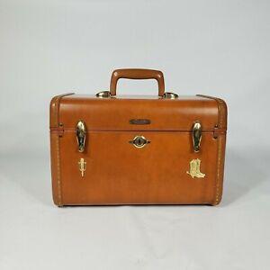 Vintage Samsonite Train Case w Key Suitcase Travel Luggage 1950s Decor