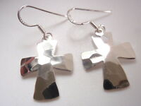 Hammered Cross Dangle Earrings 925 Sterling Silver