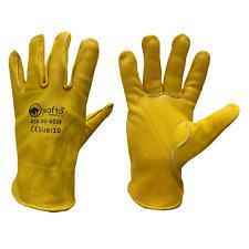 Driver Glove Yellow CowHide Leather,Key Stone Thumb,Binding On Edge ASK-DG-6039