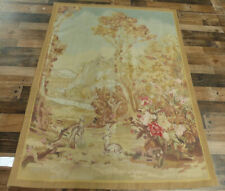 """4'5""""x6' Pictorial French Aubusson weave Tapestry Needlepoint Hand Knotted wool"""