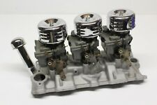 Small Block Chevy Aluminum Tri Power Intake Manifold 2 Barrel Carbs Air Filters