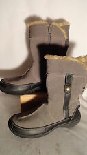 Clark Gray Leather, Zips, Faux Shearling Trim,Ankle Boots, Womens 6M