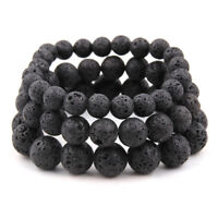 Natural Black Lava Stone Rock Volcanic Round Bead Retro Simple Elastic Bracelets
