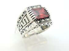 925 STERLING SILVER HANDMADE RED RUBY MARCASITE WOMEN'S RING SIZE 8.75 US SELLER