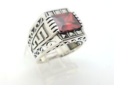 925 STERLING SILVER HANDMADE RED RUBY MARCASITE WOMEN'S RING SIZE 8.5 US SELLER