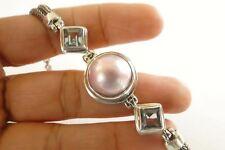 Pink Mabe Pearl Blue Topaz 925 Sterling Silver Bracelet