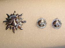 Brooch And Earrings Set N625-I Sterling Silver Mexican Sun Pin