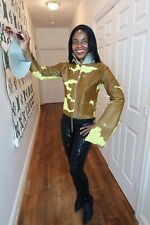 Designer FENDI Couture SWAROVSKI yellow brown Calf fur Coat Jacket bolero S 42