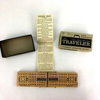 Vtg The Traveler Maple Folding Cribbage Wooden Board Game Compete in Box