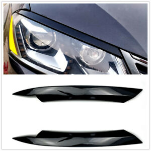 2x Car Headlight Lamp Eyebrow Eyelid Cover Trim Glossy For VW Passat B7 2010-14