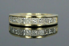 1.53Ct Princess Cut Channel Diamond Wedding Band Solid 14K Yellow Gold