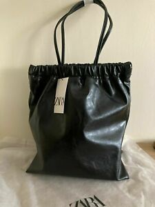 ZARA TOTE BAG WITH GATHERED OPENING black new WITH TAGS