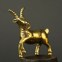 Antique Brass Goat Pendant Small Statue Ornament Collectible Pocket Gifts