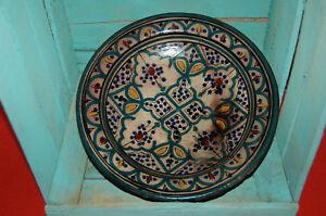 Plato Ensaladera Cerámica Marruecos Marroquí Verde Azul Negro Amarillo Burdeos