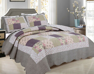 ALL FOR YOU Reversible Bedspread, Coverlet,Quilt *99* Flowers purple Prints