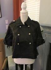 INC International Concepts Women's Black Leather Swing Crop Sleeve Jacket Sz. PS