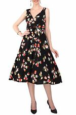 Ladies Dress 50's Prom Swing Vintage Rockabilly Party Floral Size 20 - 28 20 Black