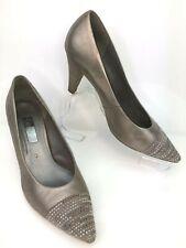 GABOR Taupe Bronze Metallic Leather Court Shoes High Heel Rhinestones UK 6 EU 39
