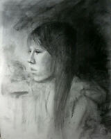 JAPANESE GIRL 11x14 Female Portrait Original Life Charcoal Drawing MODERN ART