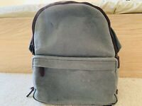 ONA Bolton Street Canvas Camera Backpack (Smoke) Side Access Laptop Compartment