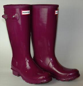 Girls Hunter Original Tall Gloss Violet Wellington/Rain Boot Sz 5Y US/4 UK/37 EU