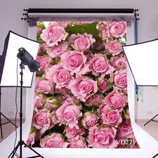 Pink Rose Flower Vinyl Photography Backdrop Background Studio Props 3X5FT VD271