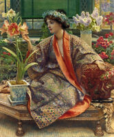 Oil painting Edward John Poynter - Young lady with Orchids and lavender flowers