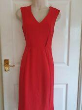 OASIS Beautiful Womens Red Pencil Bodycon Dress Midi Zip Details Feminine Sz 8