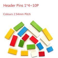 Paso de 2.54mm Pines del cabezal 4 ~ 10P Conector Hembra PCB Tira Colores una sola fila