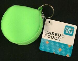 Pen+Gear - Earbud Pouch - Soft Sides - Zipper - Earbud/Cord Storage - Neon Green