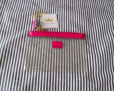 Baekgaard Pink Leather Trimmed Clear Travel Pouch NWT 5.5 inches X 3.5 inches