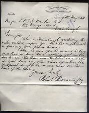 1884 FERGUSLIE FIRE CLAY WORKS, Paisley Robert Brown & Son, letter to Edinburgh