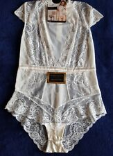 "NEW M&S ""ROSIE"" FRENCH DESIGNED LACE  BODY WITH SILK TRIMS SIZE 12 IN IVORY"